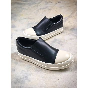 Rick Owens Drkshdw Scarpe Slip On Black White Sneaker - Sale