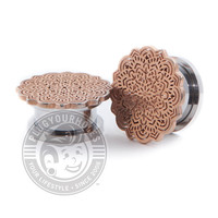 Rose Gold Tribal Flower Threaded Steel Plugs