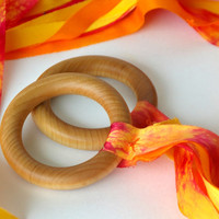 Natural Ribbon Ring Toy: Flutterby in Fire (ONE Hand Dyed Waldorf Inspired SILK Hand Kite)