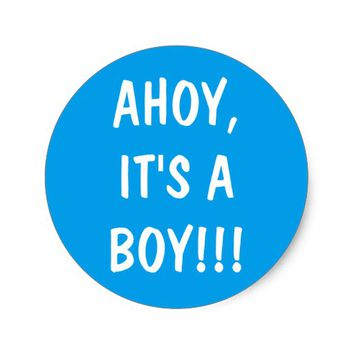 Ahoy, it's a boy blue and white sticker