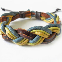 Woven bracelet leather bracelet  women by braceletbanglecase