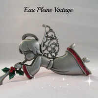 Christmas Angel Pin Trumpet Brooch J J Pewter Costume Jewelry