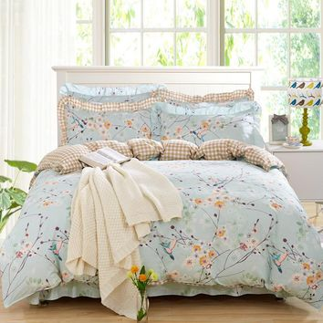 100% Cotton Bedding Set Duvet Cover Sets Bed Sheet Adults Kids Bedroom Sets King/Queen/Full/Twin Size Bedlinen Flower