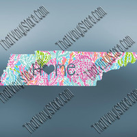 Tennessee Heart Home Decal | I Love Tennessee Decal | Homestate Decals | Love Sticker | Preppy State Sticker | Preppy State | 082