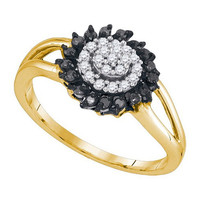 Black Diamond Fashion Ring ` in 10k Gold 0.25 ctw