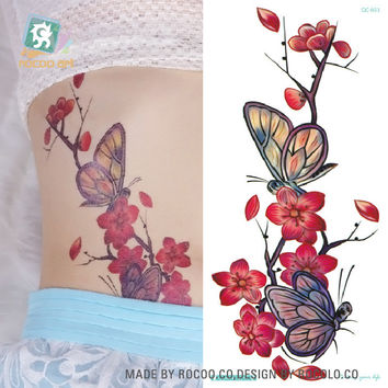 QC653 20X10cm Long Colorful tatuajes temporales tattoo sleeves Body Art Plum flower Temporary Flash Tatoos Sticker tatuagem