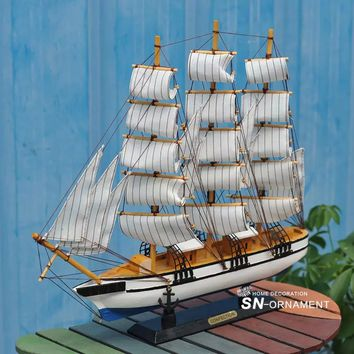 32.7cm Hand Carved Wooden Nautical Sailing Ship Model