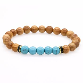 New Products Green Howlite Stone Beads Natural Wood Strand Bracelet For Women, Men Jewelry, Stretch Yoga Bracelet