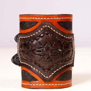 Hand tooled Hand stitched leather cuff bracelet