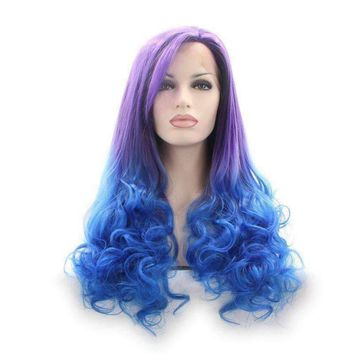 Ombre synthetic lace front wig purple heat resistant fiber hair woman