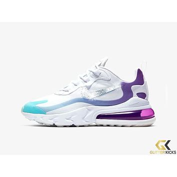 Womens Nike Air Max 270 React + Crystals -White/Aurora/Vivid Purple/Light Blue