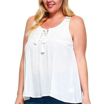 Women's Plus Size Tie Lace Sleeveless Top