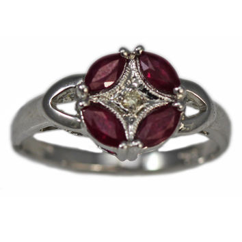 14K White Gold Star Ruby and Diamond Ring
