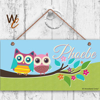 "Owl Sign, Woodland Owls on a Tree Branch, Personalized Sign,Kid's Name, Kids Door Sign, Baby Nursery Wall Art, 5"" x 10"" Sign, Made To Order"