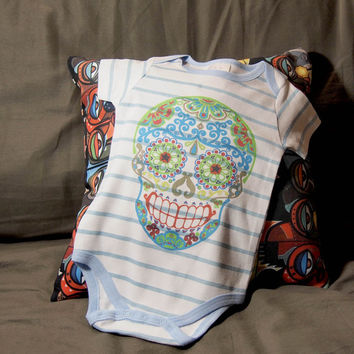 Colorful Sugar Skull Romper - toddler sugar skull Onesuit - Dia Los Muertos Printed Creeper Kids Bodysuit