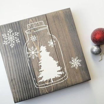 Country Gift Collection - Winter Scene Rustic Wall Holiday Decor