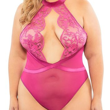 Sexy Plus Size Molly's Game Embroidered Soft Cup Sheer Bodysuit