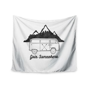 "Draper ""Going Somewhere W"" White Typography Wall Tapestry"