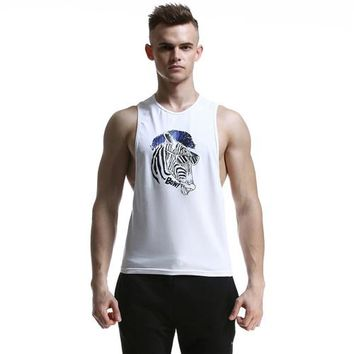 Running Vests Jogging Newest Men's Printed s Cotton Tops for Man  men Fishing Vests Loose Cotton Surfing Beach T-shirts KO_11_1