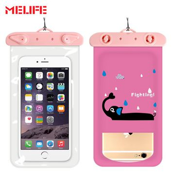 MELIFE Waterproof Sports Bag Cartoon Swimming Touchable Mobile Phone Bags Drifting Diving Pack Underwater Dry Phone Pocket
