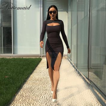 summer new long sleeves O collar hollow fit bandage dress fashion sexy pure color night party dresses