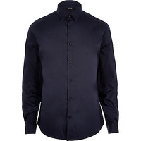 River Island MensNavy blue stretch long sleeve shirt