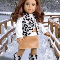 Snow Leopard - 4 piece outfit - Faux fur vest and boots matched with a mini leather skirt and ivory blouse - 18 Inch American Girl Doll Clothes (doll not included)