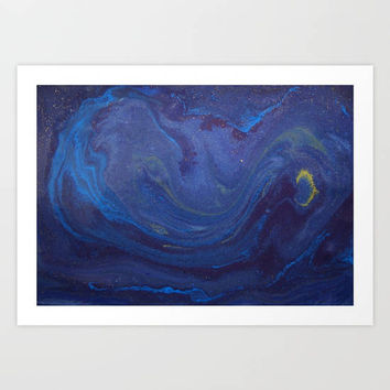 Starry Night Painting Fine Art Print, Blue Galaxy Wall Art, Stars Art Print, Night Sky Photography, Moon Art Print, Night Sky Photography