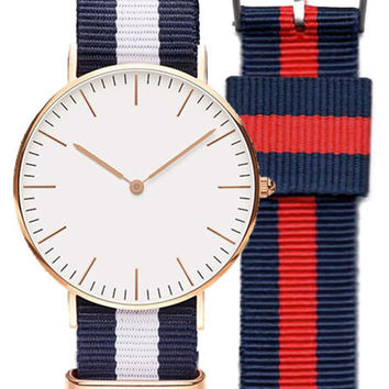 AGP NATO Strap EveryDay Watch Rose Gold