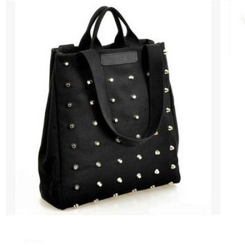 Large Studded Canvas Tote Bag