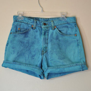 Teal Jean SHORTS - Hand Dyed Aqua Teal Urban Style Distressed Levi's 550 Brand Denim Shorts - Size 31