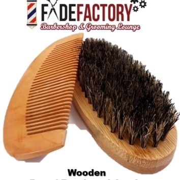 Fade Factory Comb & Beard Brush Set - Barber Supplies