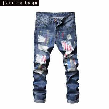 Straight American Flag Pattern Patched Slim Fit Denim Pants for Men