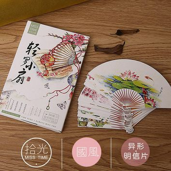 30 pcs/lot Novelty Heteromorphism Chinese style fan shape postcard greeting card christmas card birthday card gift cards