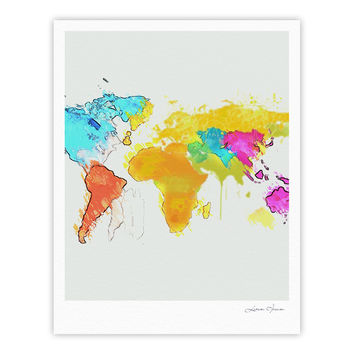 "Oriana Cordero ""World Map"" Rainbow White Fine Art Gallery Print"