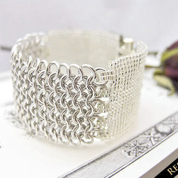 RESERVED Silver Chainmaille Beaded Cuff Bracelet by JeannieRichard