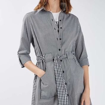 Gingham Mix Match Shirt Dress - Dresses - Clothing