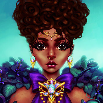 Flourished, Art Print, Illustration, Afro Art, Digital Art