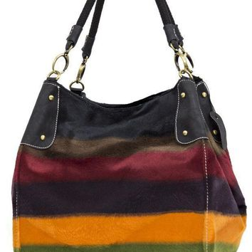 MDIGON1O Colorful Striped Faux Fur Patterned Purse Day First