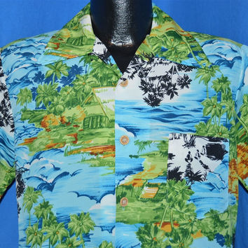 70s Sears Hula Girls Tropical Island Aloha Shirt Medium