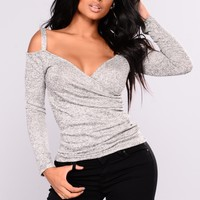 Dramatic Drape Top - Grey