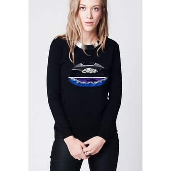 Black sweater with sequin detail of lips on the front