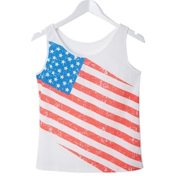 Casual Style Scoop Neck Sleeveless American Flag Pattern Tank Top For Women