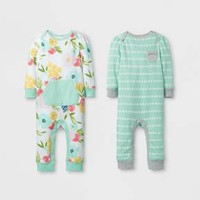Baby Girls' 2pk Coverall Set Cloud Island™ - Mint/White