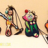 2 Inch Acrylic Charms with Bead and Phone Plug - Kiki's Delivery Service, Pearl and Peridot - Steven Universe, Red XIII - Final Fantasy 7