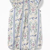 Floral-Print Bubble One-Piece for Baby|old-navy