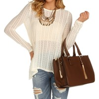 Sale-ivory Lace Textured Sheer Top