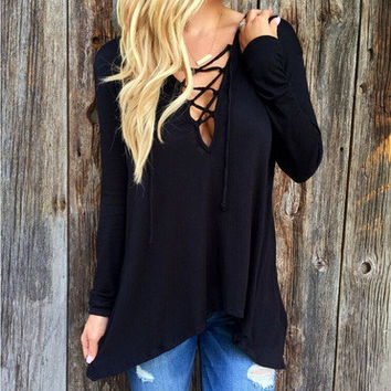 SIMPLE - Criss Cross back V Neck Casual Boho Top Shrit T-shirt T-shirt b2169