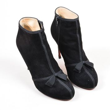DCCK2 Black Christian Louboutin   Arnoeud   Suede Bow Booties