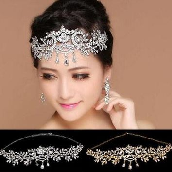 Bridal luxury Teardrop Rhinestone Crystal leaf shape Tiara Crown 1pcs/bag Woman Bridal Wedding Party Hair Jewelry Headpiece